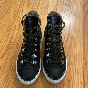 Brand New Black Leather High Top Converse